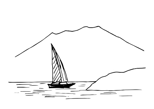 Hand-drawn simple vector ink drawing. Landscape, mountain lake, boat with a sail on the water, rocky coast. Nature, rest, travel.