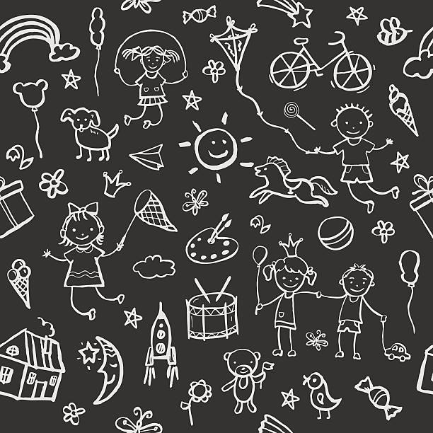 illustrations, cliparts, dessins animés et icônes de croquis dessinés à la main dans le style de motif uniforme. - ballon anniversaire smiley