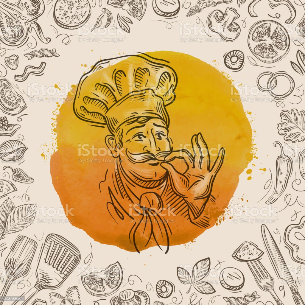 hand-drawn sketch of a happy chef and the food vector art illustration