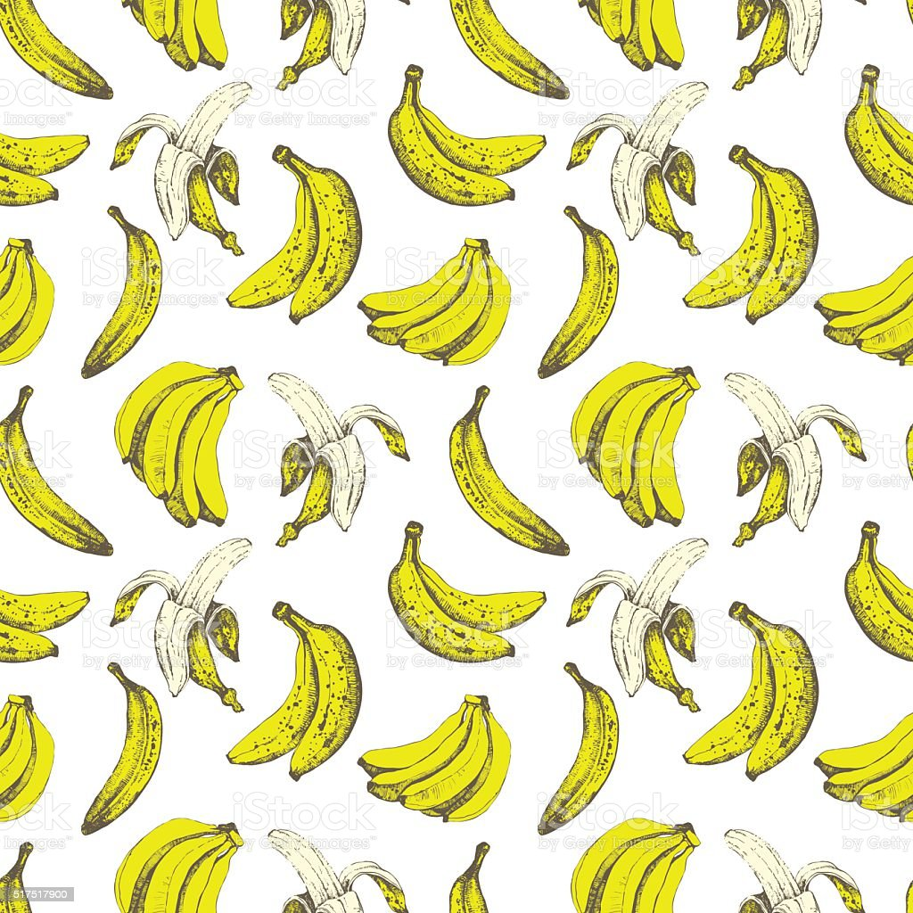 Hand-drawn sketch of banana. Seamless nature background. vector art illustration