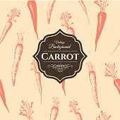 Hand-drawn sketch of carrot. Seamless nature background.