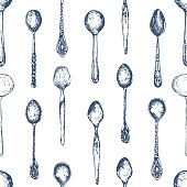 Spoons pattern. Black and white style. Vintage.