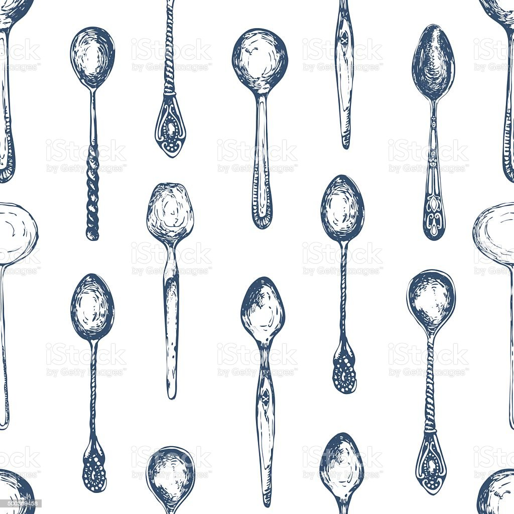 Hand-drawn sketch of spoons. Seamless cutlery background. vector art illustration