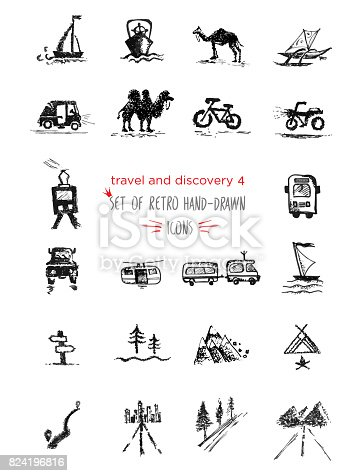 Hand-drawn sketch travel and vacation icon collection, different transportation and direction indicators Vector illustrations Black on white background
