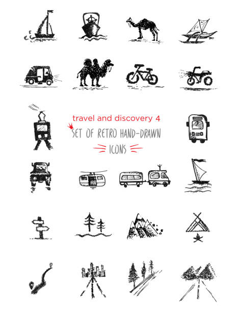 Hand-drawn sketch travel and vacation icon collection, different transportation and direction indicators. Black on white background vector art illustration