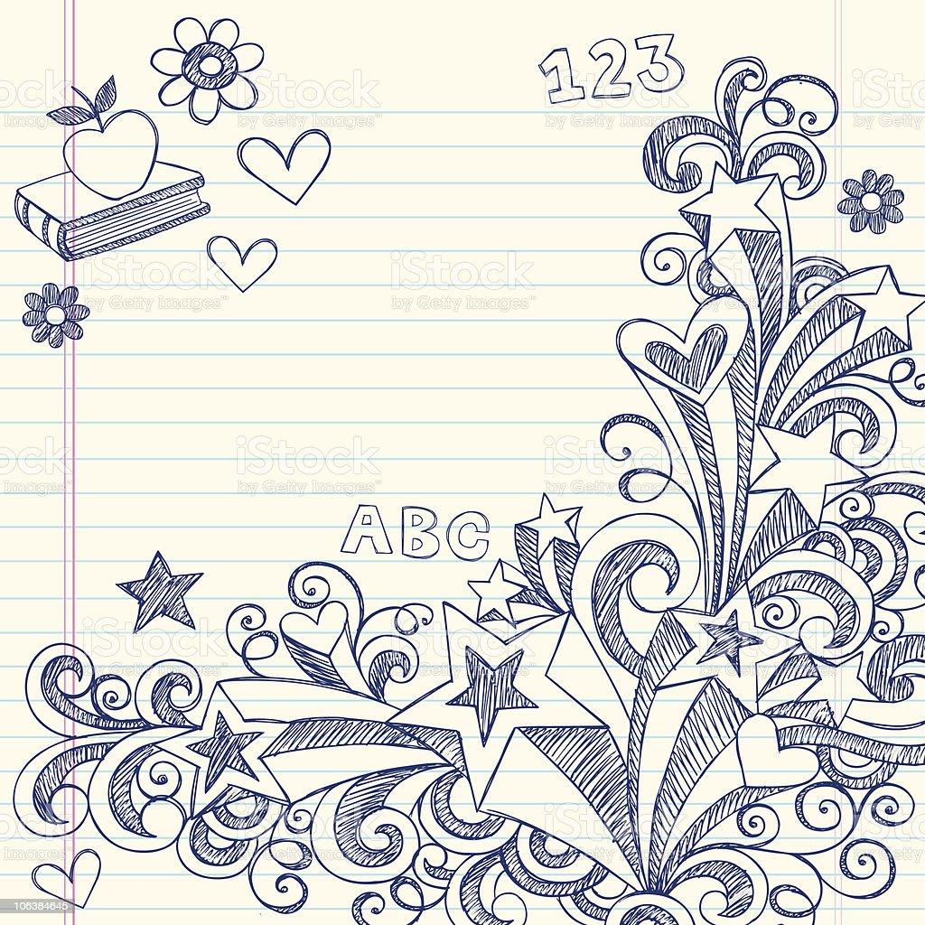Hand-Drawn Sketchy Back to School Doodles vector art illustration