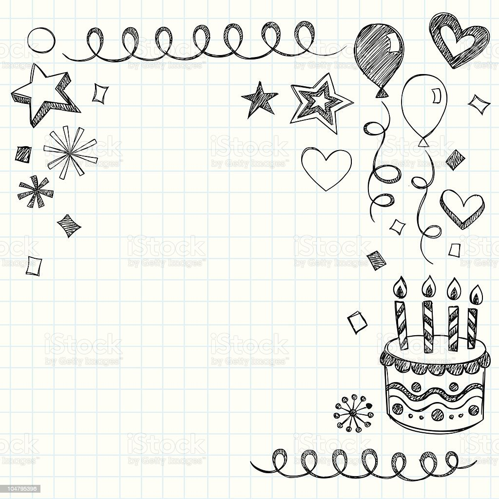 Hand-Drawn Sketchy Birthday Notebook Doodles vector art illustration