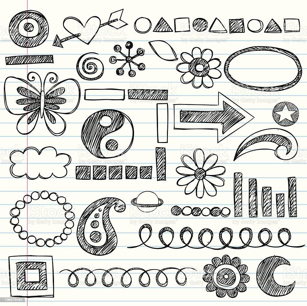 Hand-Drawn Sketchy Doodles Icon Set vector art illustration
