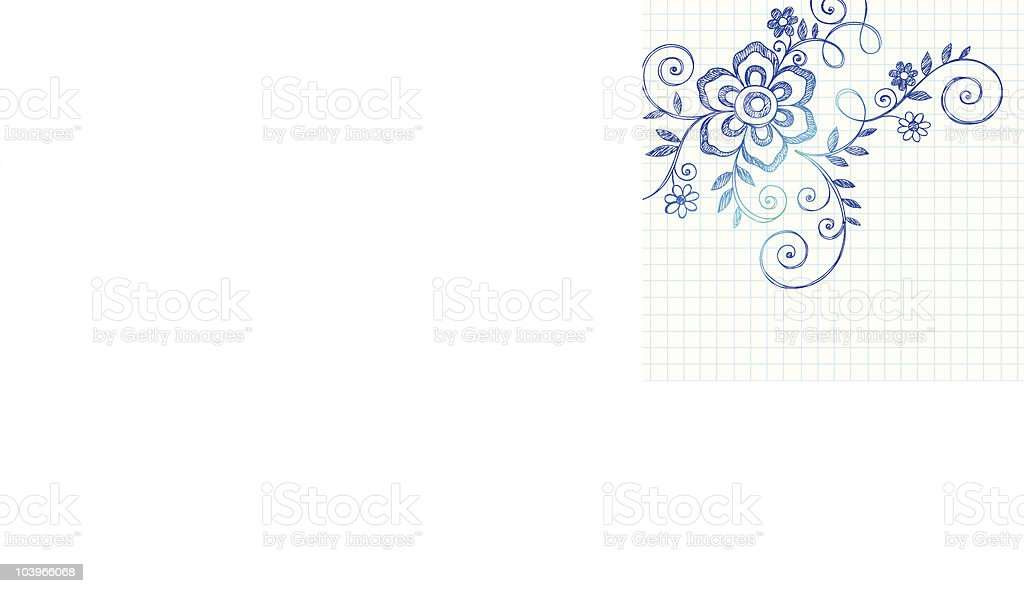 Hand-Drawn Sketchy Flower and Vines Notebook Doodles royalty-free handdrawn sketchy flower and vines notebook doodles stock vector art & more images of color image
