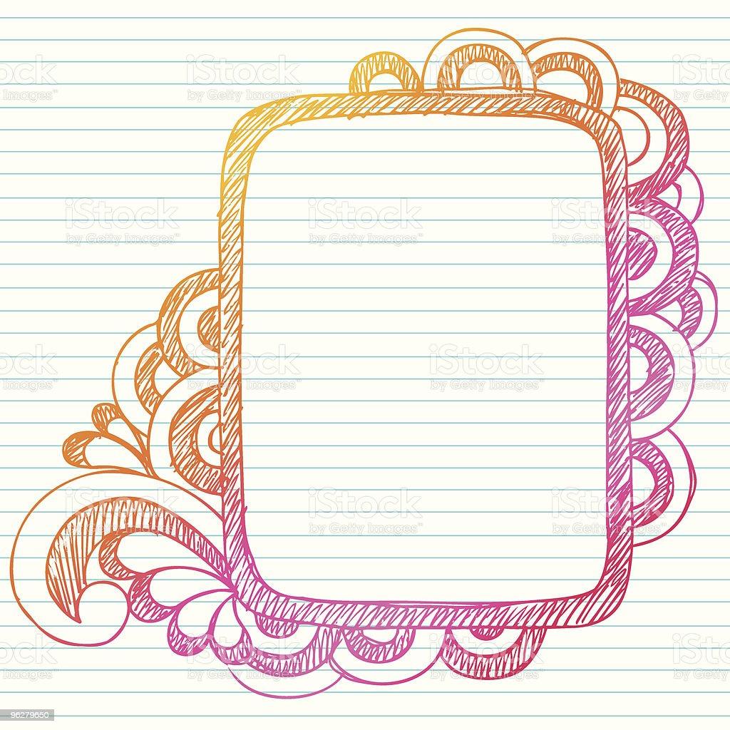 Hand-Drawn Sketchy Frame Notebook Doodles vector art illustration