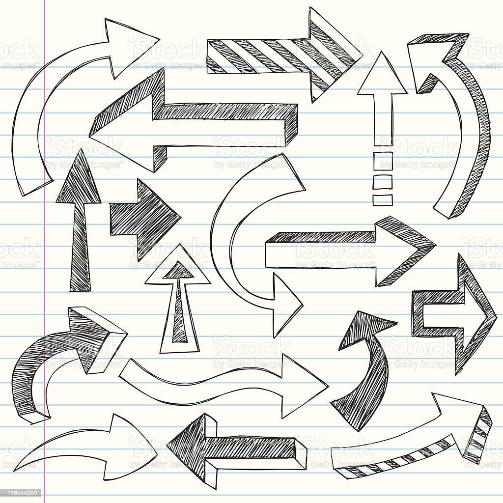 Hand-Drawn Sketchy Notebook Doodle Arrows royalty-free stock vector art