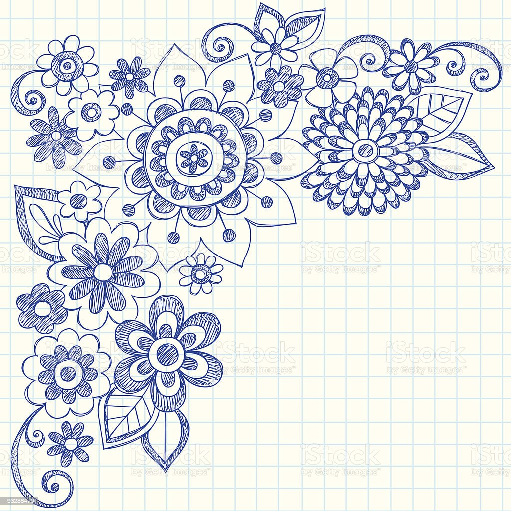 Hand-Drawn Sketchy Notebook Doodle Flowers royalty-free stock vector art