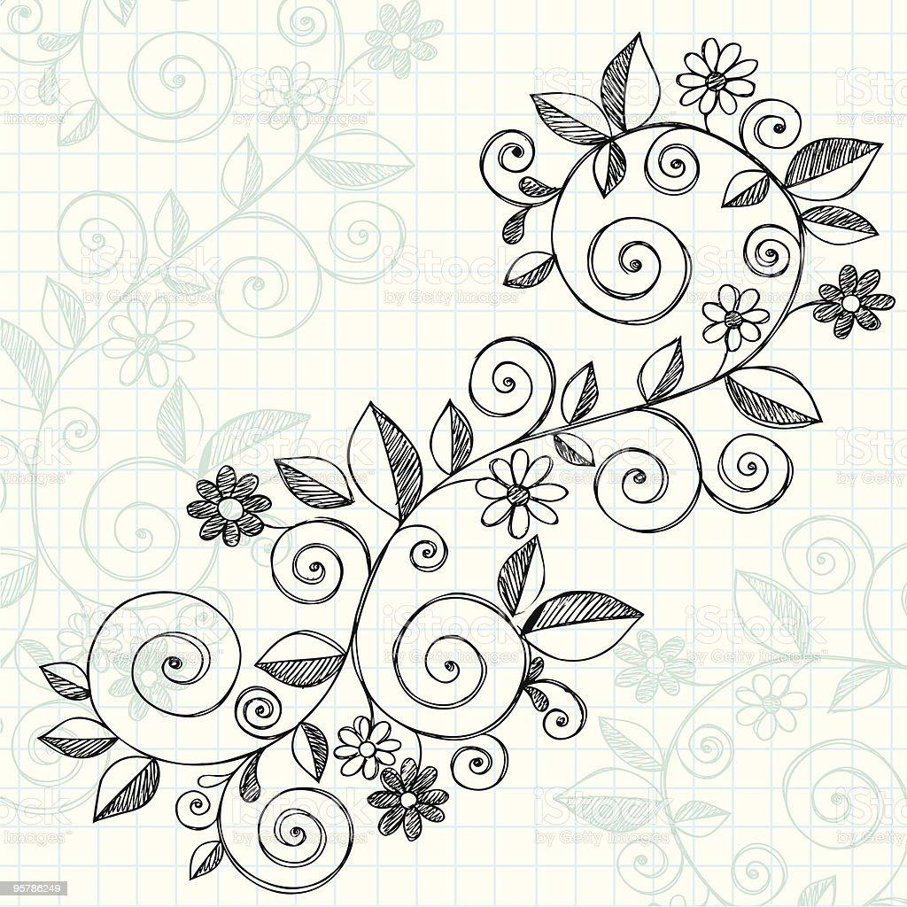 Desenhadas à Mão Caderno Desenhos Animados Vinha E Flores