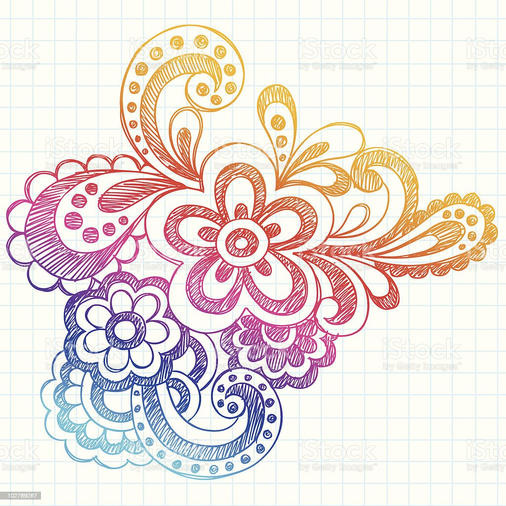 Hand-Drawn Sketchy Paisley Doodle royalty-free stock vector art