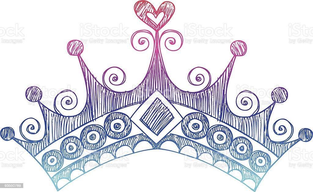Hand-Drawn Sketchy Princess Crown Doodle vector art illustration