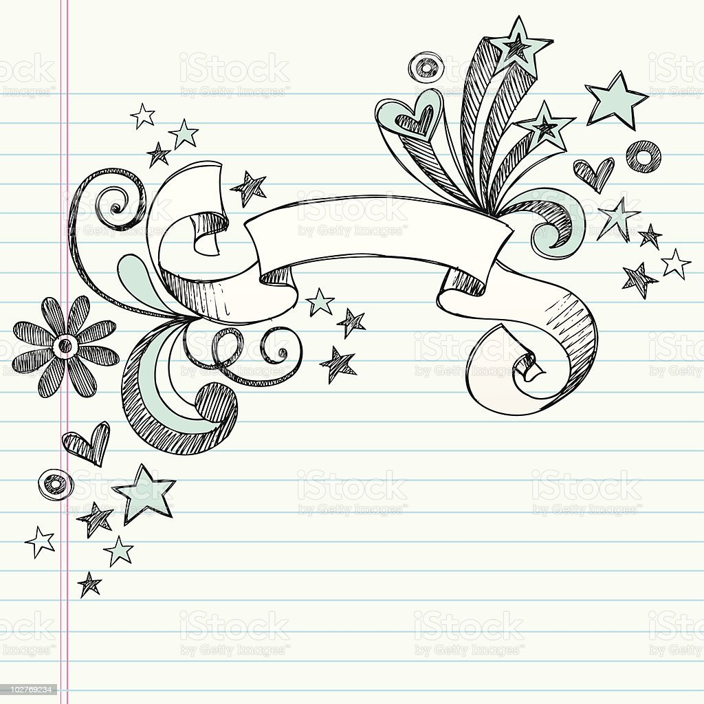 handdrawn sketchy scroll banner notebook doodles stock vector art
