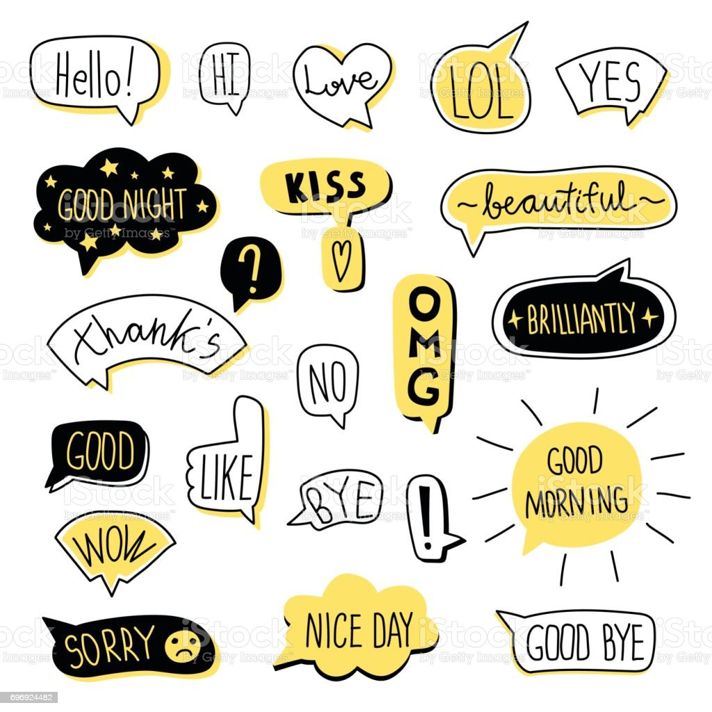 Hand-drawn speech bubble set. Vector illustration, isolated on white. vector art illustration