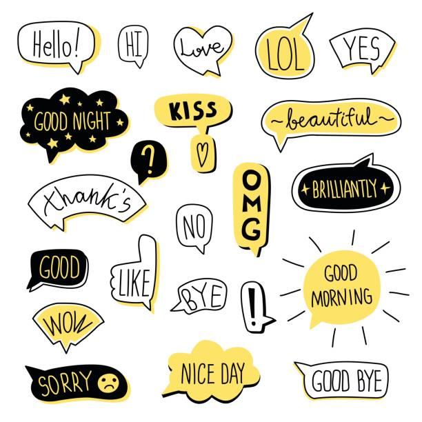 hand-drawn speech bubble set. vector illustration, isolated on white. - speech bubble stock illustrations, clip art, cartoons, & icons