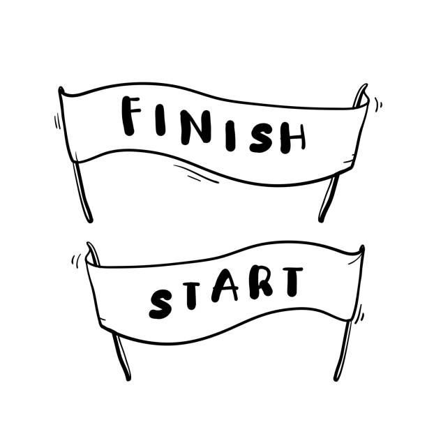 handdrawn start and finish line banners, streamers, flags for outdoor sport event, competition race, run. with doodle cartoon style - start stock illustrations
