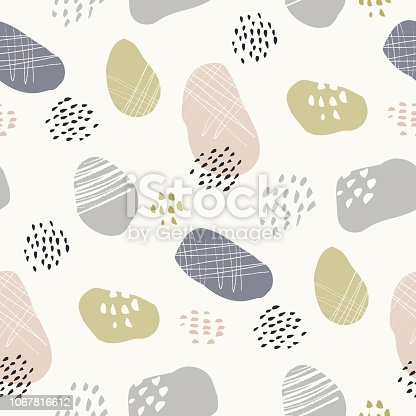 Hand-drawn stone-like textured organic fragments vector seamless pattern. Whimsical abstract terazzo geometric print in lime, pink grey pastel colors. Dots, marks, scribbles. Perfect for home decor