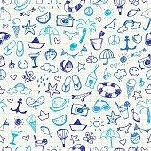 Hand-drawn Summer Doodles. Seamless pattern. Vector illustration