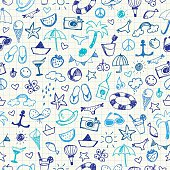 Hand-drawn Summer Doodles. Seamless pattern. Vector illustration