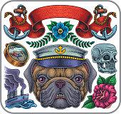 Bulldog wearing sea ship calyx, vector set of various symbols.