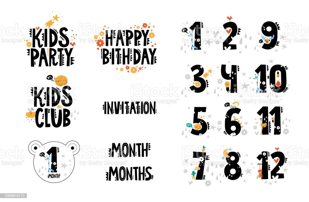 Hand Drawn Text Kids Club Party Happy Birthday Invitation Month