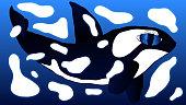 istock Hand-drawn textural art illustration - Killer whale. 1224513926
