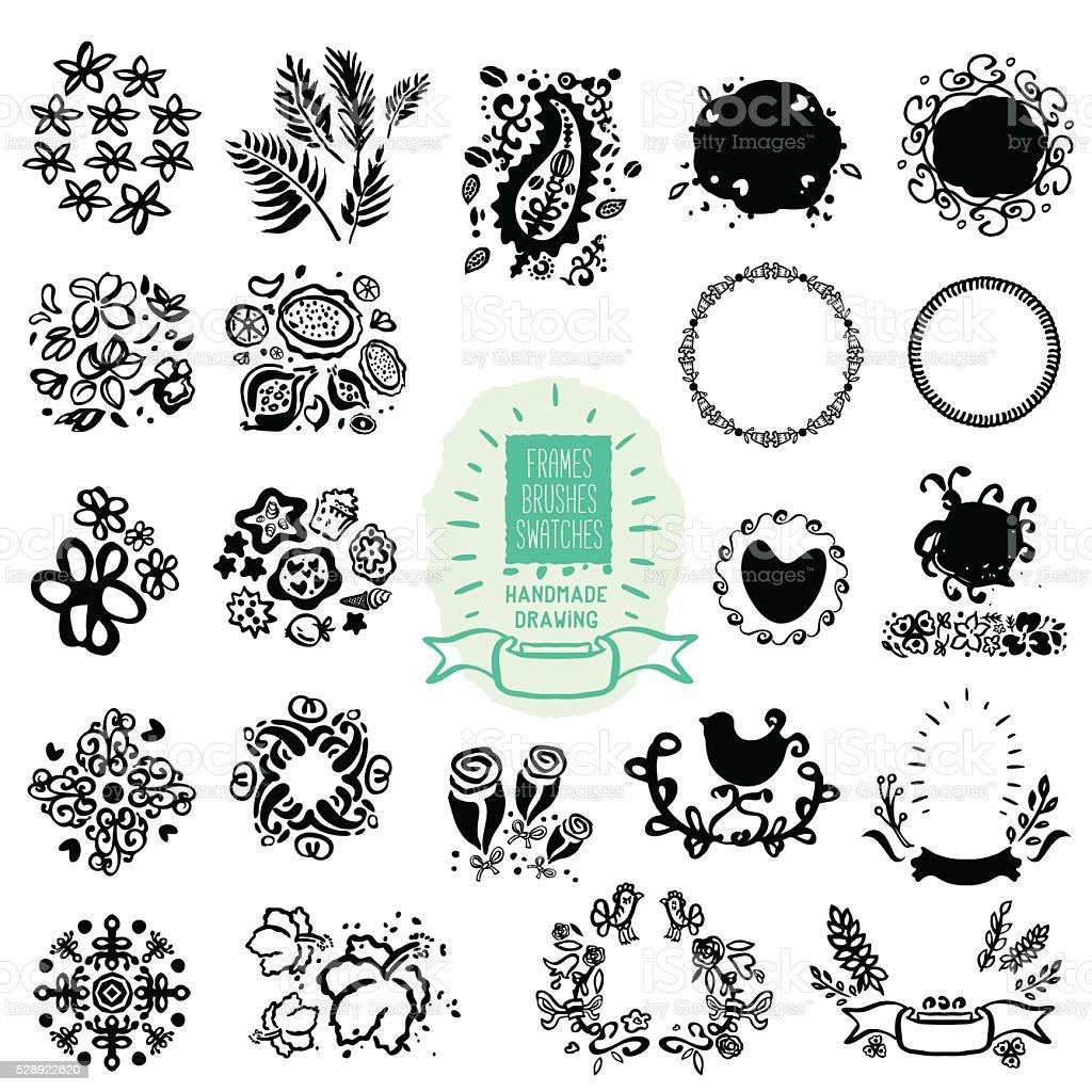 Ilustración de Dibujados A Mano Texturas Marcos Manchas Pinceles Y ...