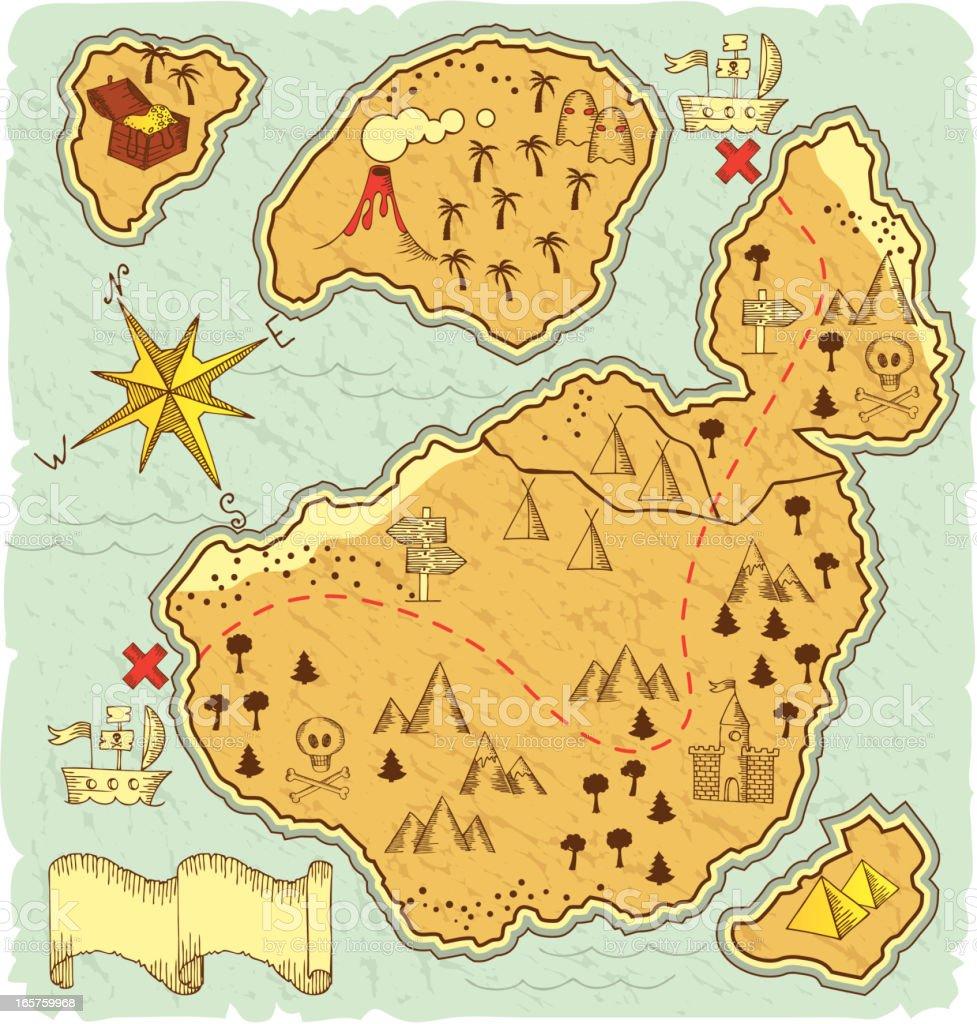 handdrawn treasure map stock vector art 165759968 istock