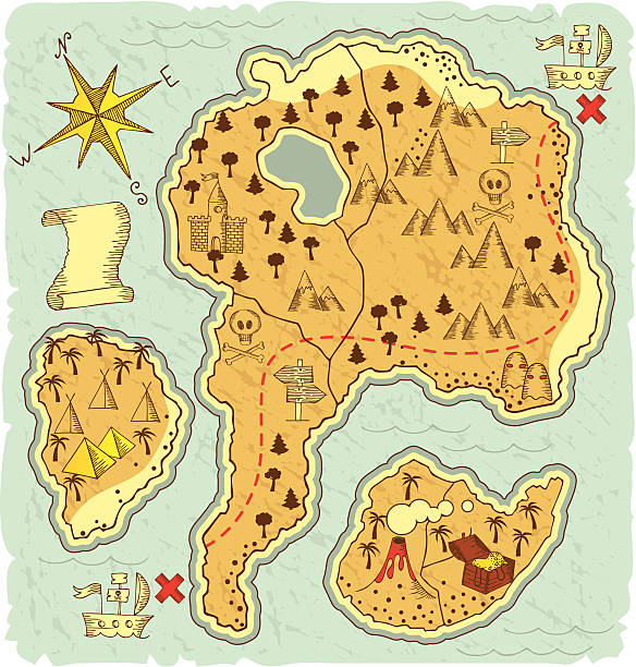 hand-drawn treasure map - treasure map backgrounds stock illustrations