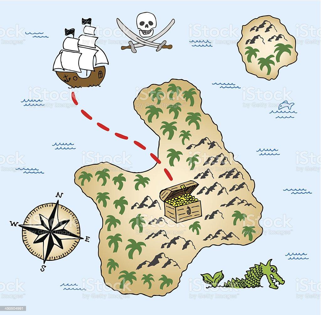 Dibujados a mano mapa del tesoro - ilustración de arte vectorial