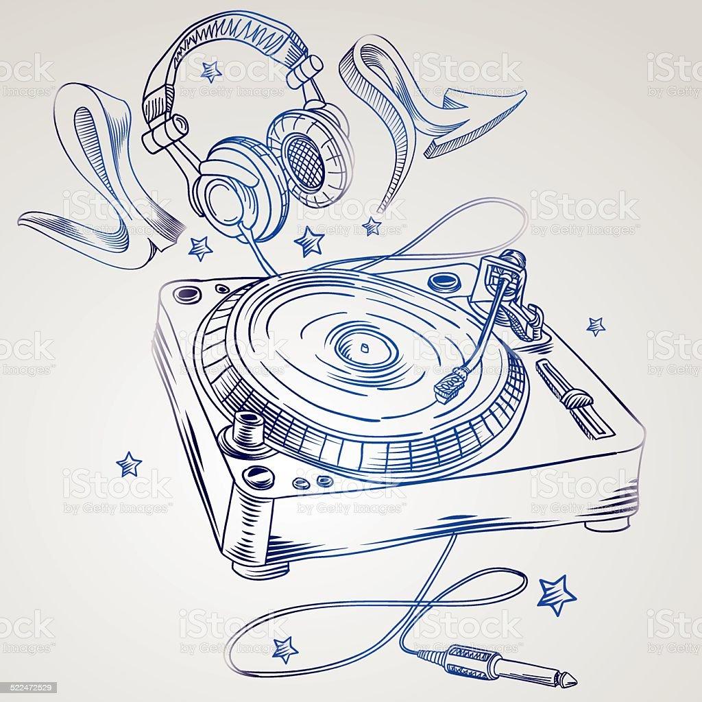 Hand-drawn turntable & headphones vector art illustration