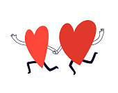 istock Hand-drawn two running hearts. Vector doodle illustration of lovers holding hands. Happy silhouettes of hearts catching up to each other in cartoon style isolated on white background. 1296597633