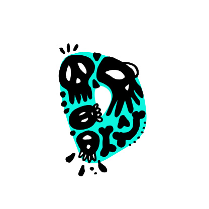 """Hand-Drawn Typography - Alphabet Doodle - Letter """"D"""" with Skulls"""