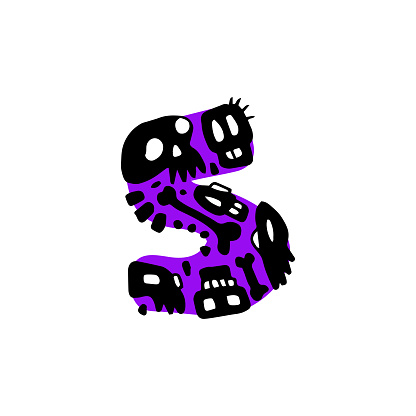 """Hand-Drawn Typography - Alphabet/Numbers Doodle - Number """"5"""" with Skulls"""