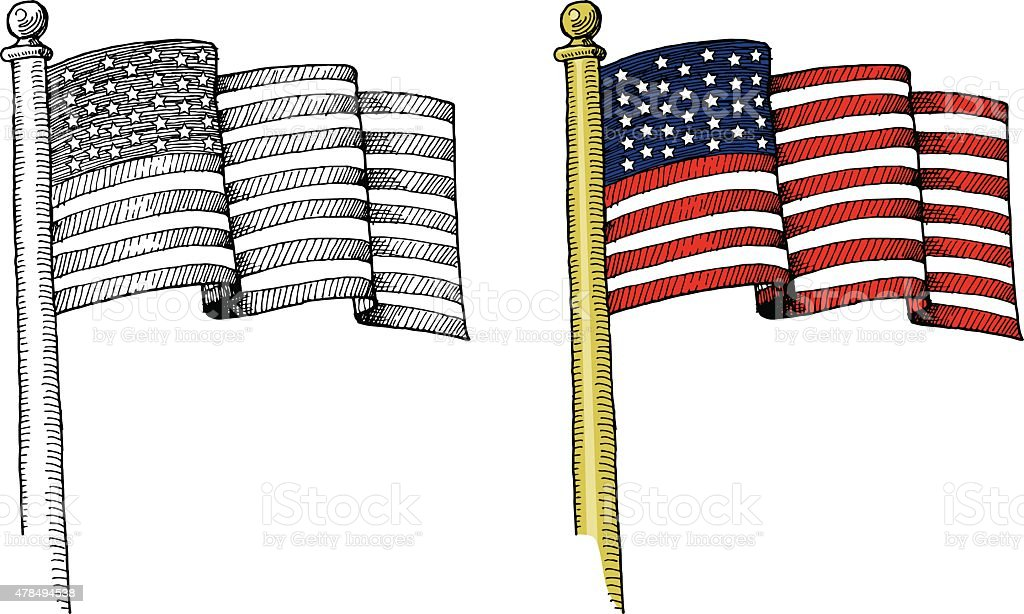 Hand-drawn United States Flag vector art illustration