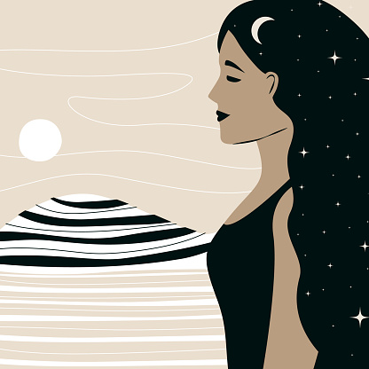 Hand-drawn vector abstract element of a flat graphic illustration,bohemian astrology, the magical art of mystical stars of astronomy. A woman with dark hair, boho style, minimalistic poster. Landscape