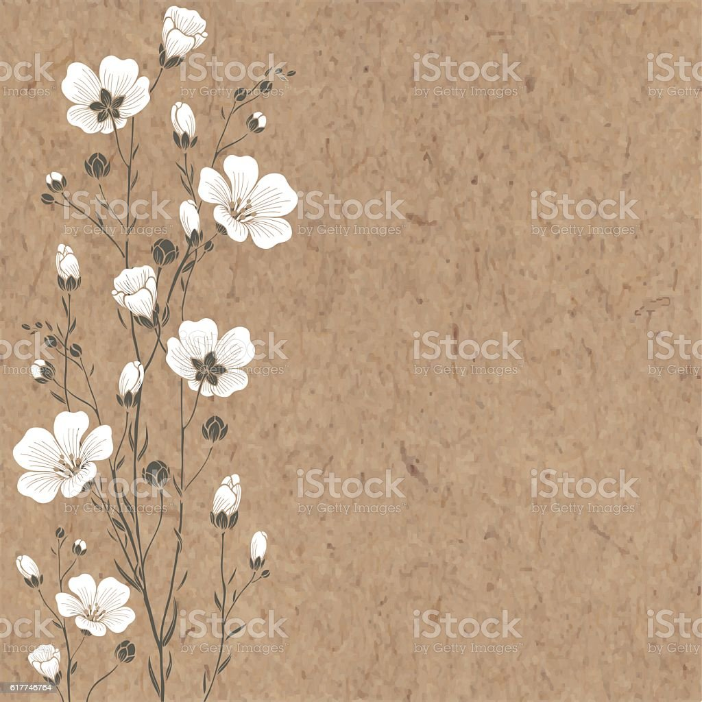 Hand-drawn vector background with  flax flowers  on kraft paper. vector art illustration