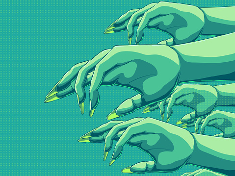 Hand-drawn vector banner illustration - Zombie hands.