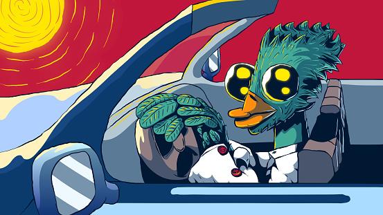 Hand-drawn vector cartoon illustration - Anthropomorphic bird driving a car.