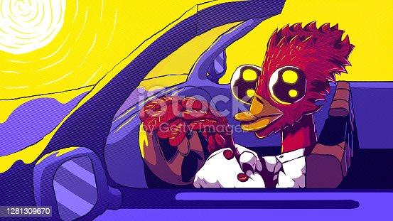 istock Hand-drawn vector cartoon illustration - Anthropomorphic bird driving a car. 1281309670
