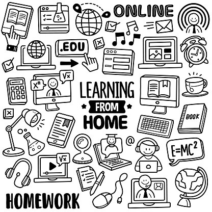 Hand-drawn Vector Collection: Learning from Home