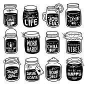 Hand-drawn Vector Collection: Positive Quote on Doodle Jar