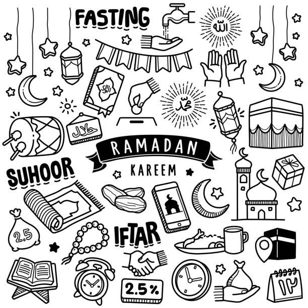 ilustrações de stock, clip art, desenhos animados e ícones de hand-drawn vector collection: ramadan kareem - cora��o