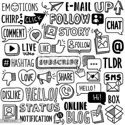 Set of vector doodle element related to social media. Collection of hand drawn social media word terms and phrase.