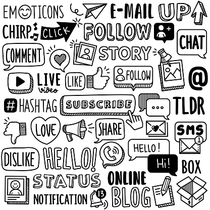 Hand-drawn Vector Collection: Social Media Word Terms
