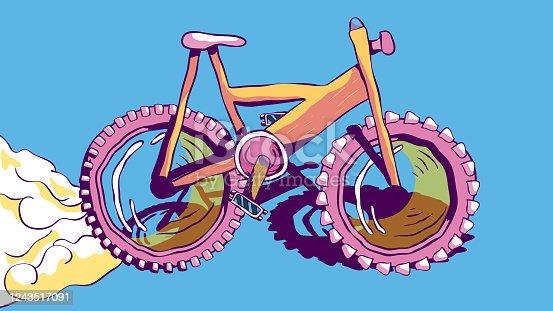 Hand-drawn vector colorful illustration - Racing bike.