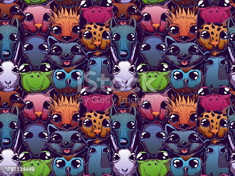 Hand-drawn vector cute seamless illustration - Animals with big eyes.
